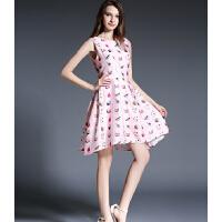 夏季新款女装名媛圆领无袖大摆印花连衣裙打底连衣裙