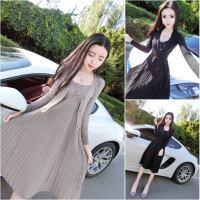 夜店性感秋女装通勤简约两件套秋装气质时尚短外套系带裙子连衣裙