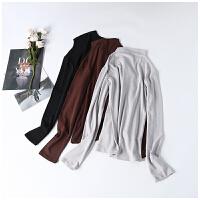 舒适亲肤 春季新款女装简约半高领修身长袖打底学生T恤CY