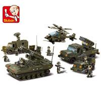 快乐兼容乐高式积木军事系列陆军总部装甲车坦克飞机积木儿童节礼物