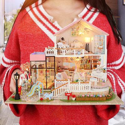 成人木质3d立体拼图玩具房子模型diy益智建筑模型女孩男孩大别墅 益智玩具 中国风建筑模型