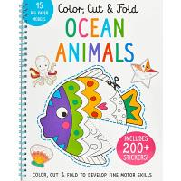 海洋动物 Color, Cut, and Fold: Ocean Animals 英文原版 低幼儿童启蒙认知绘本玩具书