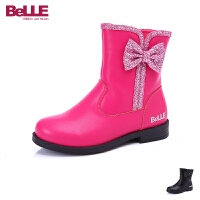 百丽Belle童鞋中大童保暖皮靴子二层牛皮童靴女孩加毛短靴靴子棉鞋童鞋 (5-13岁可选) DE0161
