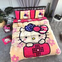 加厚卡通法莱绒四件套凯蒂KT猫儿童床上用品被套床单珊瑚绒1.8米 杏色 钻石猫