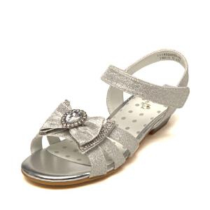 鞋柜Pinkii/苹绮女大童凉鞋蝴蝶结闪钻格利特设计中大童公主鞋