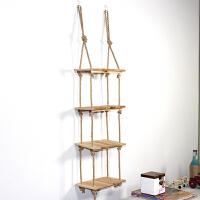多层收纳架多肉花架创意实木墙上悬挂式置物架书房阳台墙壁