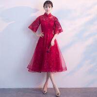 2018新款新娘敬酒服红色中式立领优雅公主结婚晚礼服女春季中长款 酒红色