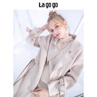 【清仓3折价779.7】Lagogo2019冬季新款纯色翻领毛呢大衣女宽松中长款HCDD238G91