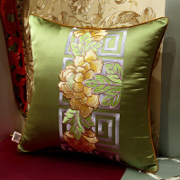 中式刺绣花红木实木沙发大靠包含芯床头靠垫背套抱枕