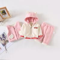 女宝宝冬装婴儿秋冬套装1一岁外套3岁儿童加绒加厚棉衣三件套