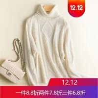 山羊绒衫女高领慵懒风宽松气质毛衣大码套头针织衫