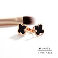 日韩版镀玫瑰金四叶草耳钉女气质韩国简约黑色圆形耳环耳饰品 一对价格