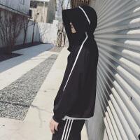 男生外套韩版潮流男个性条纹连帽百搭宽松休闲港风青少年运动夹克