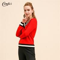 拉夏贝尔大红毛衣女士新款宽松长袖上衣V领套头时尚羊毛针织衫