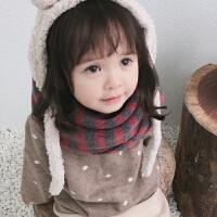 秋冬小孩保暖儿童拼色条纹亲肤套头围巾 男女童宝宝韩版围脖套