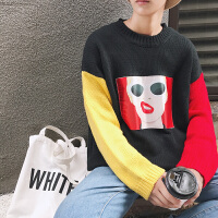 新款2018秋季个性毛衣男士韩版帖布拼色圆领针织衫宽松套头外套潮
