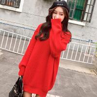 孕妇毛衣女秋冬季宽松韩版中长款孕妇冬装高领套头打底针织衫