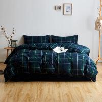当当优品拉绒四件套 全棉日式水洗法兰绒床品 双人1.5米床 绿色格纹