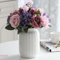 仿真玫瑰花束陶瓷玻璃花瓶花艺套装假花客厅卧室餐桌花装饰摆件