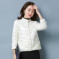 秋冬轻薄羽绒服女短款韩版时尚宽松立领气质白鸭绒外套潮