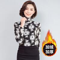 冬季新款高领加厚印花长袖网纱打底衫女保暖衣服印花t恤上衣