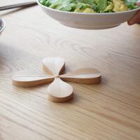 原创四叶隔热垫木质餐垫防滑碗盘垫锅垫耐热西餐垫