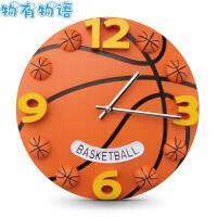 物有物语 儿童房挂钟 足球篮球运动钟表活力健身男孩卧室学生房墙钟创意3D卡通静音钟饰石英钟