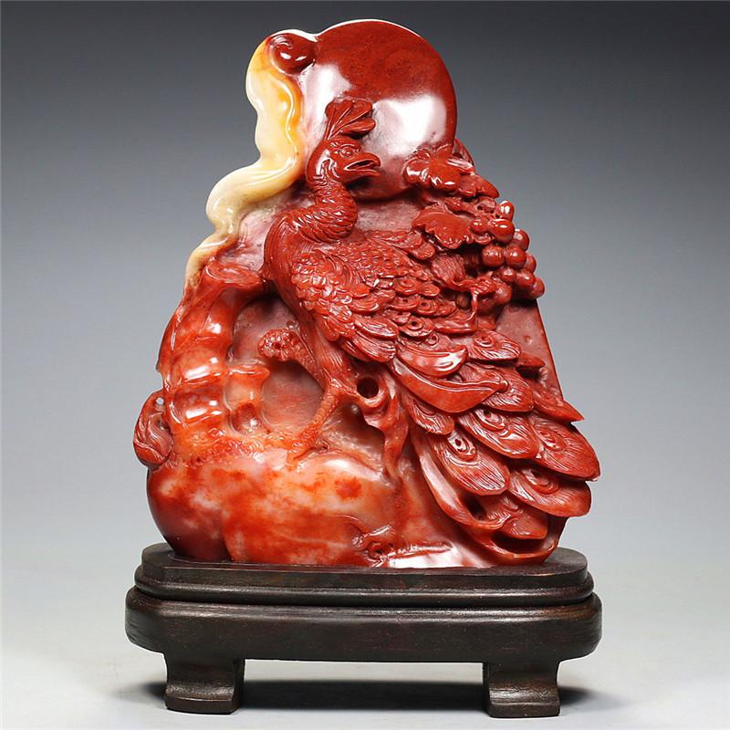 寿山芙蓉石摆件  丹凤朝阳