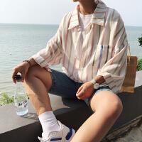 夏季�L男士短袖�r衫小清新�l�y休�e�r衣男��松七分袖中袖寸衫潮
