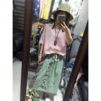 简约条纹衬衫夏新款韩版圆领套头棉麻T恤下摆两侧花朵刺绣上衣J17