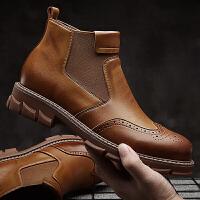 承发 男士休闲切尔西时尚马丁休闲耐磨皮靴子男 12630 黑色 41