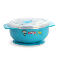 进口Nuby不锈钢碗宝宝吸盘碗婴儿辅食训练吃饭喂食碗儿童餐具带盖