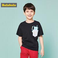 巴拉巴拉童装男童中大童短袖T恤夏装新款学生印花圆领打底衫