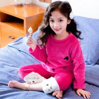 女童珊瑚绒睡衣秋冬款儿童法兰绒小童女冬季宝宝家居服套装小女孩