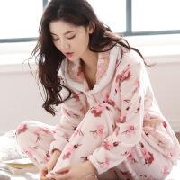 冬季珊瑚绒睡衣女长袖加厚加绒法兰绒秋冬韩版妈妈月子家居服套装