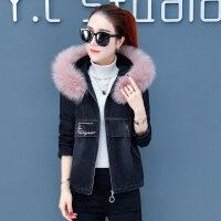 女冬装潮韩版时尚短款加厚宽松棉衣外套女士牛仔棉袄