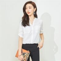 【一口价119元】七分袖上衣女士衬衣2018新款夏装复古港味衬衫气质韩范白色雪纺衫30082300
