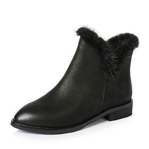 Teenmix/天美意专柜同款磨砂牛皮/貂毛女短靴(绒里)AO591DD6