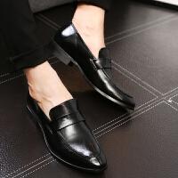 CUM 尖头男士皮鞋时尚青年潮鞋英伦风发型师透气男鞋子休闲鞋