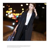 韩版风衣女中长款收腰系带修身显瘦外套宽松2018春季新款七分袖