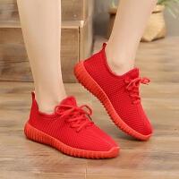 老北京布鞋女鞋百搭平底红鞋女单鞋妈妈鞋学生韩版系带运动休闲鞋