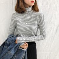 秋冬季高领打底衫女学生长袖修身上衣新款条纹百搭加厚短款T恤 均码