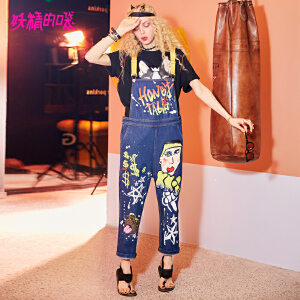 【低至1折起】妖精的口袋涂鸦背带牛仔裤新款原宿bf风趣味chic印花ins超火裤子女