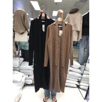 韩国秋冬款V领系带收腰单排扣显瘦长款羊绒针织毛衣开衫连衣裙女 均码