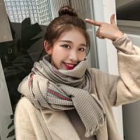 韩版毛线围巾女秋冬季加厚学生围脖百搭保暖英伦格子披肩两用