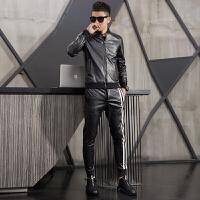 新品18冬季男士潮流加绒加厚立领皮衣套装韩版修身青年男式休闲两