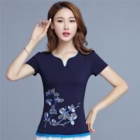中国风夏季新款 民族风女装上衣V领绣花撞色棉T恤衫 大码打底衫女