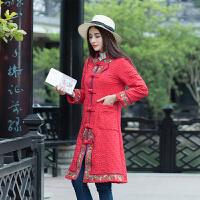 2017春装新款中国风女装刺绣复古棉衣大码显瘦中长款盘口立领外套