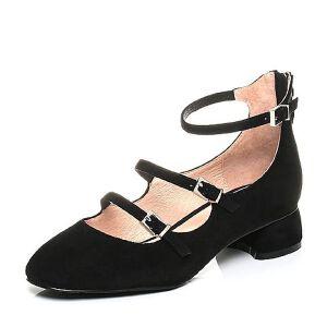Belle/百丽2017秋时尚复古羊绒皮玛丽珍女鞋66301CQ7
