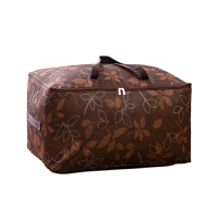 优芬加厚牛津布棉被袋 72升大号被子衣物收纳袋 整理袋软收纳箱72L咖啡树叶60*40*30cm